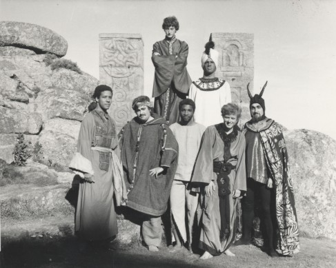 Photograph of seven Porthcurno cable station students dressed in costume for an amateur theatrical production ot the Minack Theatre.