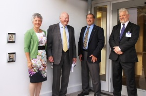 L to R: Tamsin Daniel, HLF; Lord Pender, Patron of The PK Trust; Dave Foot, Chariman of The PK Trust; Mark George, Chief Executive of Porthcurno Telegraph Museum.
